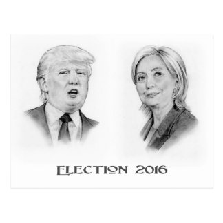 Trump and Hillary Pencil Portraits, Election 2016 Postcard