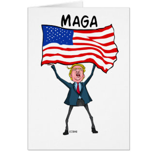 Trump Carrying US Flag with MAGA Text Card