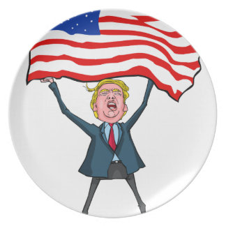 Trump Carrying US Flag with MAGA Text Plate