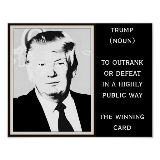 Trump Definition with B&W Photo Poster