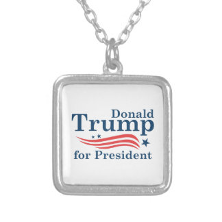 Trump For President Silver Plated Necklace