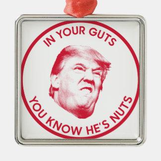 Trump is nuts President 2016 Inaugural Silver-Colored Square Ornament
