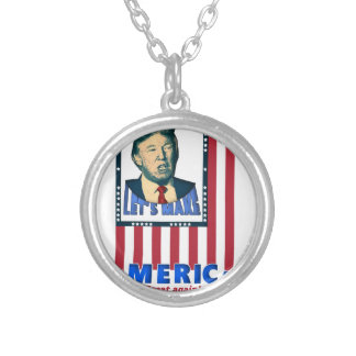 trump love design silver plated necklace