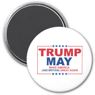 Trump May 2016 - Make American and Britain Great A 3 Inch Round Magnet