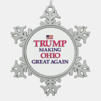 Trump Ohio Great Again Snowflake Pewter Christmas Ornament