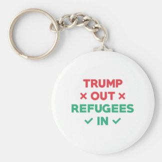 Trump Out Refugees In Basic Round Button Keychain