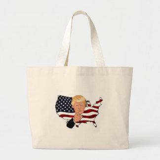 Trump President Uncle Sam Usa America Flag Large Tote Bag