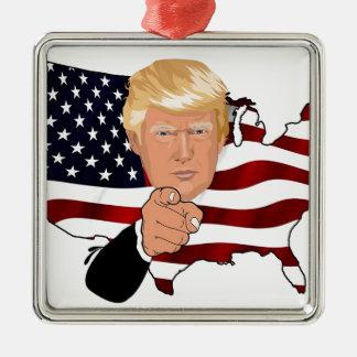 Trump President Uncle Sam Usa America Flag Metal Ornament