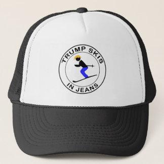Trump Skis In Jeans Trucker Hat