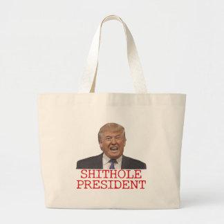 Trump, the Shithole President Large Tote Bag