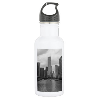 Trump Tower Chicago River Grayscale