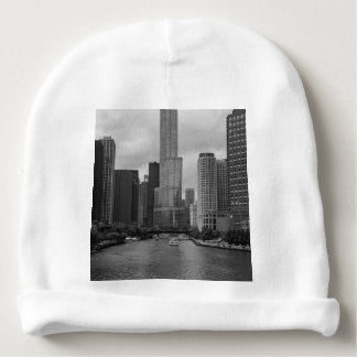 Trump Tower Chicago River Grayscale Baby Beanie