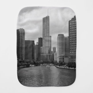 Trump Tower Chicago River Grayscale Burp Cloth