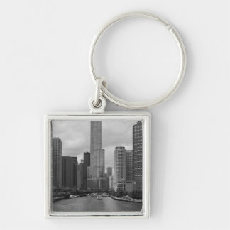 Trump Tower Chicago River Grayscale Keychain