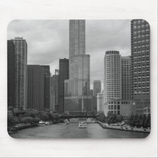 Trump Tower Chicago River Grayscale Mouse Pad