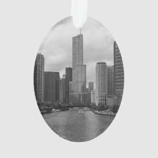 Trump Tower Chicago River Grayscale Ornament