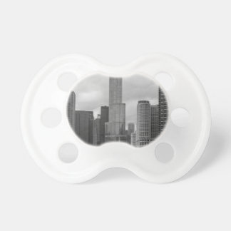 Trump Tower Chicago River Grayscale Pacifier