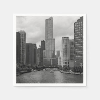 Trump Tower Chicago River Grayscale Paper Napkins