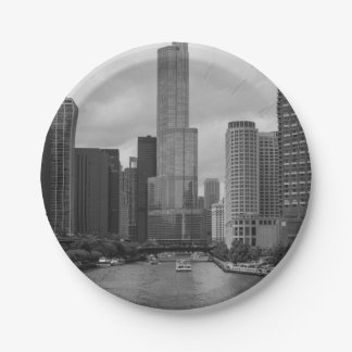 Trump Tower Chicago River Grayscale Paper Plate