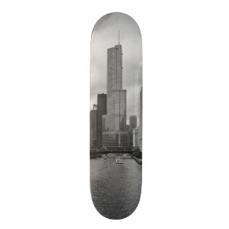 Trump Tower Chicago River Grayscale Skateboard