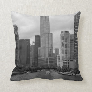 Trump Tower Chicago River Grayscale Throw Pillow