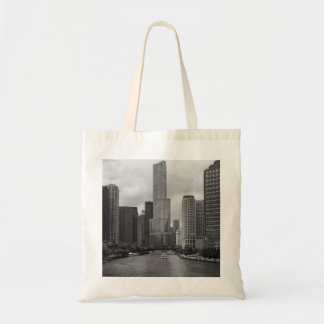 Trump Tower Chicago River Grayscale Tote Bag