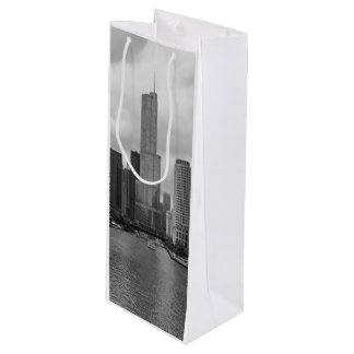 Trump Tower Chicago River Grayscale Wine Gift Bag