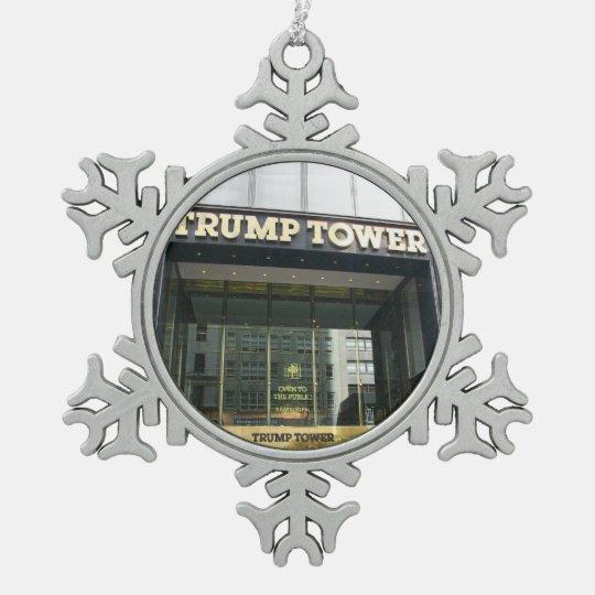 Trump Tower Pewter Snowflake Ornament