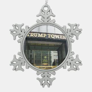 Trump Tower Snowflake Pewter Christmas Ornament