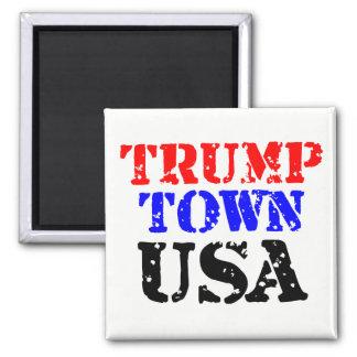 Trump Town USA Square Button Magnet