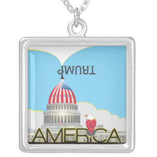 TRUMP Trumpet & US Capitol - day version Silver Plated Necklace