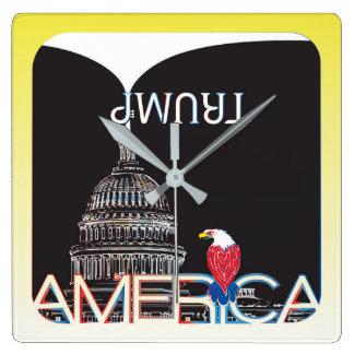 TRUMP Trumpet & US Capitol - night version Square Wall Clock