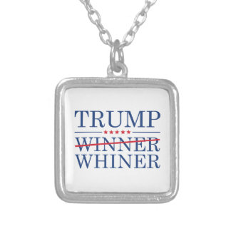 Trump Winner Whiner Silver Plated Necklace