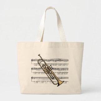 Trumpet 11 B w/Sheet Music Background Tote Bag