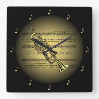 Trumpet 3-D Gold Globe ~ Sheet Music ~ Black BG ~ Square Wall Clock