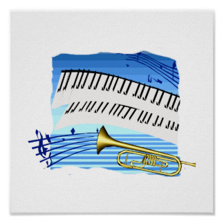 Trumpet and Keyboard blue theme graphic music Posters