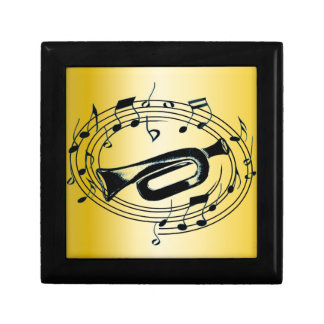 Trumpet and Musical Notes Jewelry Box