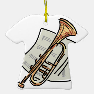 trumpet and sheet music christmas ornaments