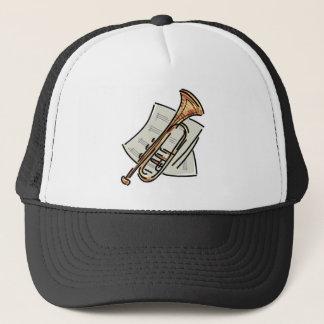 trumpet and sheet music trucker hat