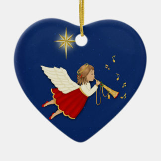 Trumpet Angel and Christmas Star - 2 Sided Ceramic Heart Ornament