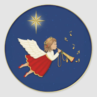 Trumpet Angel and Christmas Star Classic Round Sticker
