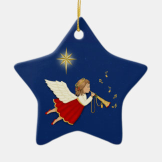 Trumpet Angel Ceramic Star Ornament