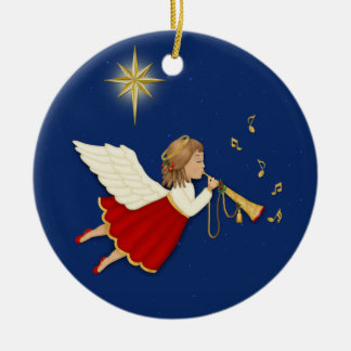 Trumpet Angel Double-Sided Ceramic Round Christmas Ornament