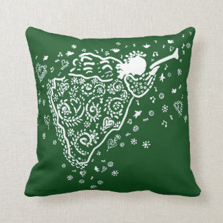Trumpet angel pillow in red and green