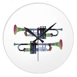 Trumpet Art Large Clock