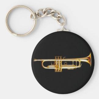 Trumpet Brass Horn Wind Musical Instrument Basic Round Button Keychain