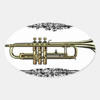 trumpet brass pass oval sticker