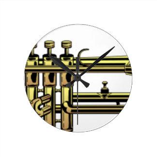 Trumpet Cartoon Round Clock