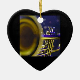 Trumpet Close-Up 3 Ceramic Heart Ornament