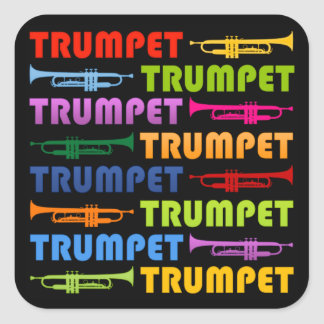 Trumpet Collage Square Sticker